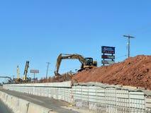 Straßenbau in Oklahoma City, CAT-Schwermaschinen Stockfotografie