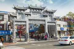 Straßenbild in China-Stadt, Incheon, Südkorea Lizenzfreies Stockbild