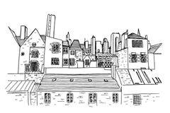 Straßenbild in der alten europäischen Stadt stock abbildung