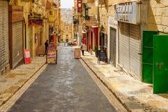 Straßenbild in Valletta Stockfotografie