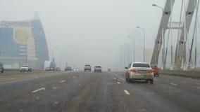 Straßenbrücke in Astana stock footage
