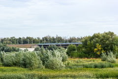 Straßenbrücke, die durch das Feld überschreitet Stockfotografie