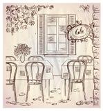 Straßencafé-Grafikillustration. Stockbild