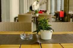 Straßencafé mit Blumen morgens in gewölbter Galerie in der europäischen alten Stadt Stockfotos