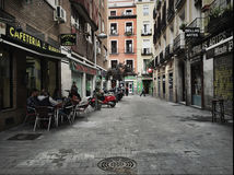 Straßencafés Madrid, Spanien Stockbild