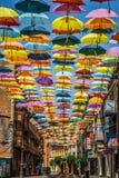 Straßendekoration Hintergrundes Madrids, Spanien am 25. Juli 2014 bunte Stockbilder