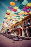 Straßendekoration Hintergrundes Madrids, Spanien am 25. Juli 2014 bunte Stockbild