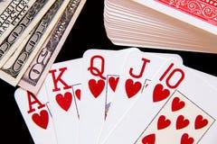 Straßenerröten und -geld des Pokers königliches Stockfoto