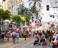 Straßenfest-Marionetten-Feuer-Skulptur Stockfotografie
