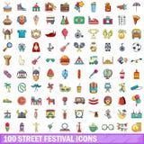100 Straßenfestikonen eingestellt, Karikaturart Stockbilder