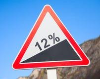 Straßengrad 12 Prozent Lizenzfreie Stockfotografie