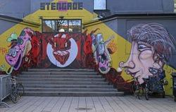 Straßengraffiti auf der Wand in Kopenhagen Stockbild