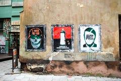 Straßengraffitikunst auf Schmutzwand über Putin Lizenzfreie Stockbilder