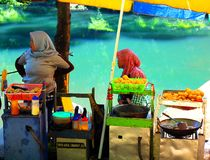 Straßenhändler im Cisanti See stockfotografie