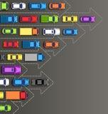 Straßenhintergrund mit mehrfarbigen Autos auf Grau Lizenzfreie Stockfotografie