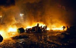 Straßenkämpfe in Kyiv, Ukraine Stockfotos