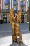 Straßenkünstler bei Ramblas in Barcelona, Spanien Lizenzfreies Stockbild
