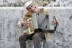 Straßenkünstler, der Akkordeon spielt Lizenzfreies Stockbild