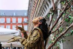 Straßenkünstler in Piazzabürgermeister Madrid Stockfotografie