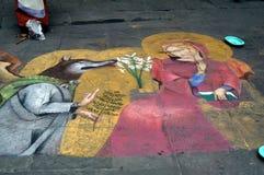 Straßenkünstler in Siena stockfotografie