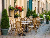 Straßenkaffee in Luxemburg Lizenzfreies Stockfoto