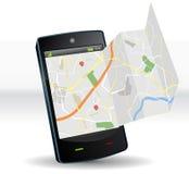 Straßenkarte auf Smartphone tragbarem Gerät Stockfotografie