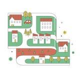 Straßenkarte der Kleinstadt in der dünnen Linie Design Stockbild