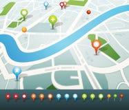 Straßenkarte mit GPS-Stiftikonen Stockbild