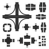 Straßenkarteausrüstung Baustraßenelemente mit verschiedenen Markierungen Lizenzfreie Abbildung