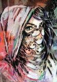 Straßenkunst - Damengesicht Stockfoto