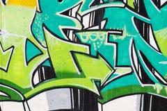 Straßenkunst, Segment städtischen Graffiti auf Wand Stockbild
