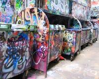 Straßenkunstabfalleimer in Melbourne Stockbild
