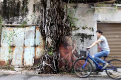 Straßenkunstwandgemälde in Penang stockfotos