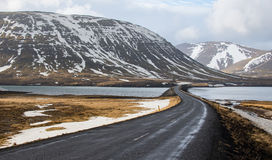 Straßenkurve in Island lizenzfreie stockfotos