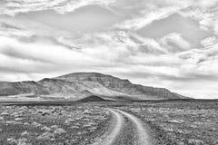 Straßenlandschaft im Tankwa-Karoo einfarbig lizenzfreie stockbilder