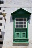 Straßenlaterne-La ote Zusammenfassungs-Fenstergrün im w Stockbilder