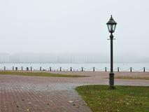 Straßenlaterne und Nebel stockfoto