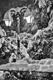 Straßenlaterne- und Schneeszene Lizenzfreie Stockbilder