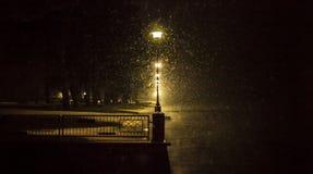Straßenlaternen in einer schneebedeckten Nacht Lizenzfreie Stockfotografie