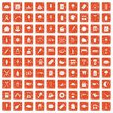 100 Straßenlebensmittelikonen stellten Schmutz orange ein lizenzfreie abbildung