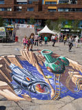 Straßenmalerei in 3D Lizenzfreie Stockfotos