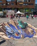 Straßenmalerei in 3D Lizenzfreie Stockfotografie