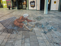 Straßenmalerei in 3D Lizenzfreies Stockfoto