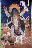 Straßenmalerei der hinduistic Göttin Kali und des Gottes Shiva, Gokarna, Indien lizenzfreie stockfotos