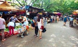 Straßenmarkt, Gemüsemarkt, Straßenansicht in China Lizenzfreies Stockfoto
