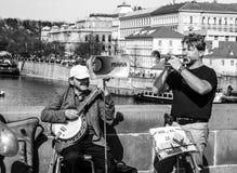 Straßenmusik in Prag Lizenzfreies Stockbild