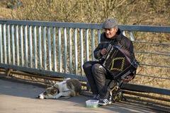 Straßenmusiker, der das Akkordeon spielt Balashikha, Russland Lizenzfreie Stockfotografie