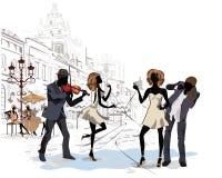Straßenmusiker in der Stadt stock abbildung