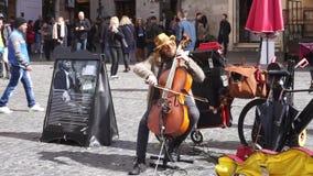 Straßenmusiker führt das Spielen eines Kontrabasses in einem italienischen Quadrat durch stock footage