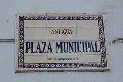 Straßennamenzeichen valparaiso chile Stockbilder